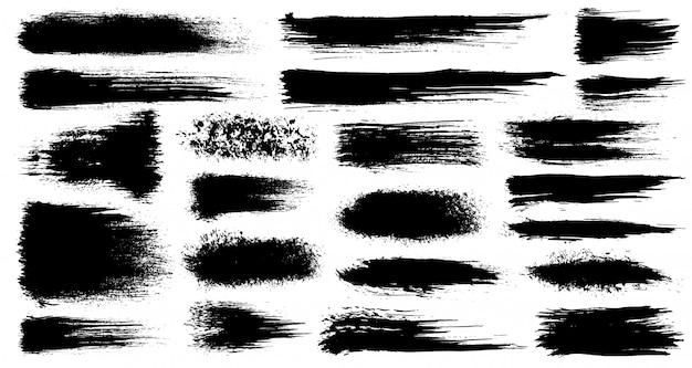 Vectorreeks slagen van de grunge artistieke penseel, borstels. creatieve ontwerpelementen. grunge aquarel brede penseelstreken. zwarte collectie geïsoleerd op een witte achtergrond Premium Vector
