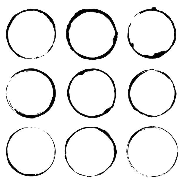 Vectorreeks van beeld van het de illustratieconcept van de grungecirkel het borstel Premium Vector