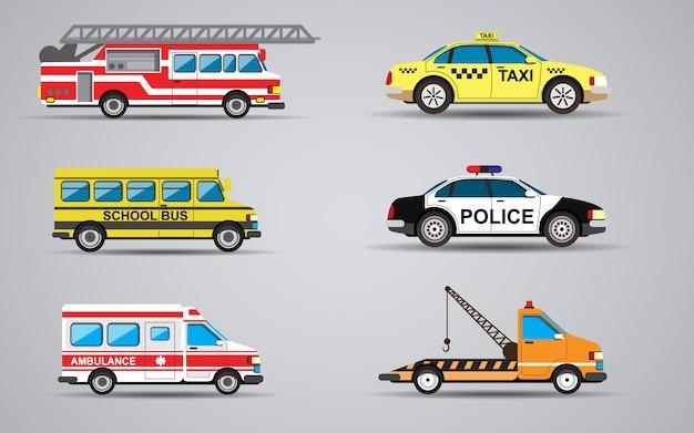 Vectorreeks van de geïsoleerde vervoerbrandvrachtwagen, ziekenwagen, politiewagen, vrachtwagen voor vervoer defecte auto's, schoolbus, taxi. Premium Vector
