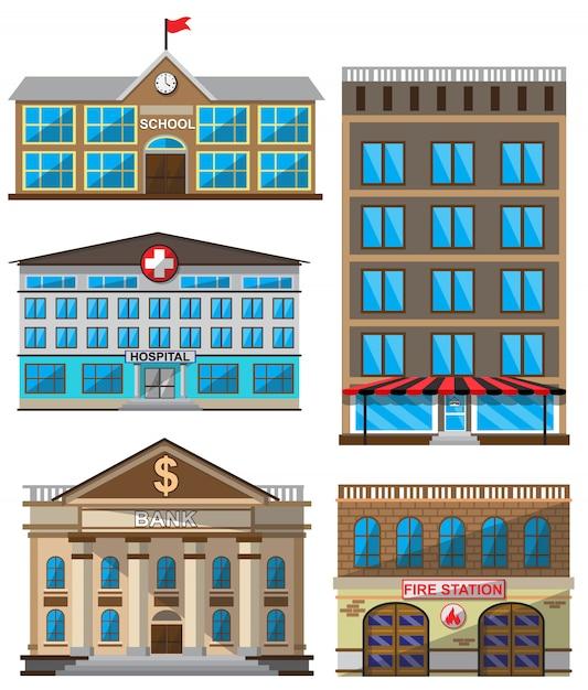 Vectorreeks vlakke gebouwen decoratieve pictogrammen Premium Vector