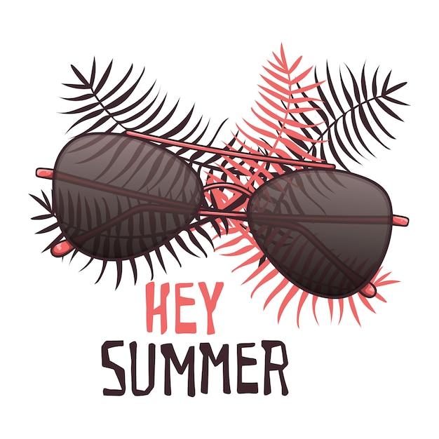 Vectorschetszonnebril in uitstekende stijl. belettering: hey zomer. Premium Vector