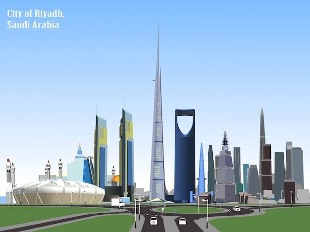 Vectorstad van riyadh, saudi-arabië Premium Vector