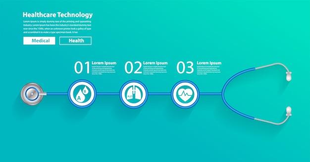 Vectorstethoscoop creatief met pictogrammenontwerp Premium Vector