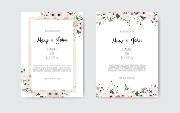 Vectoruitnodiging met met de hand gemaakte bloemenelementen. bruiloft uitnodigingskaarten met florale elementen Premium Vector