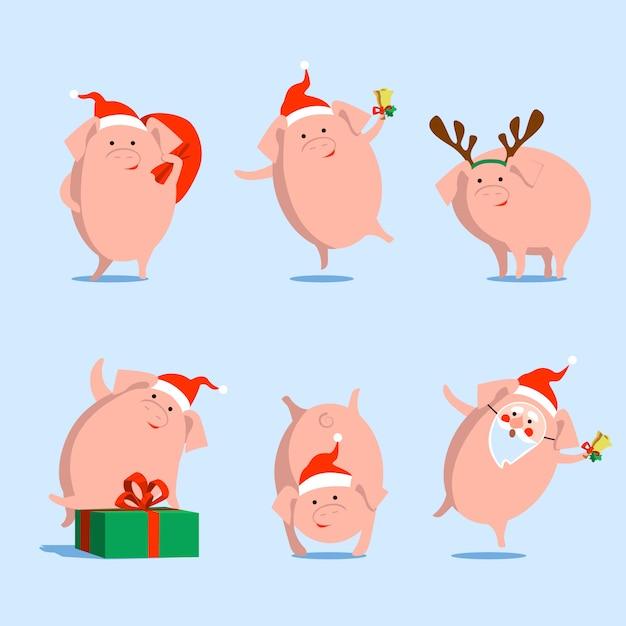 Vectorvarken, symbool van chinees nieuw jaar, kerstmis, op geïsoleerde achtergrond. Premium Vector