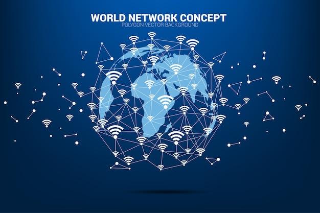 Vectorveelhoeklijn verbindt mobiele gegevens en wi-fi pictogramsignage vormt de wereldkaart. Premium Vector
