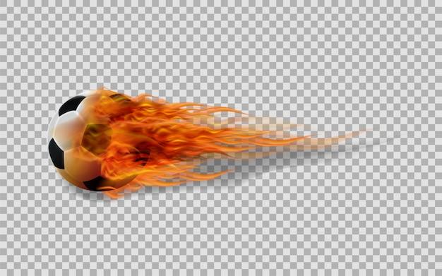 Vectorvoetbalbal in brand op transparante achtergrond. Premium Vector