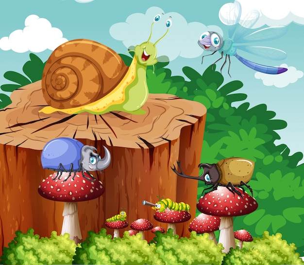 Veel insecten in de tuin Premium Vector