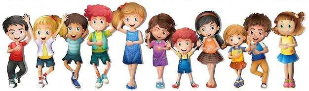 Veel kinderen met een blij gezicht Gratis Vector
