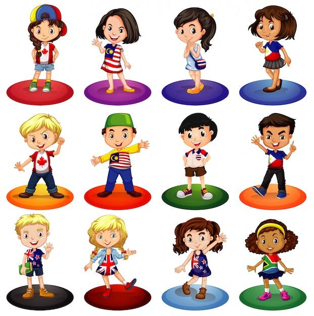 Veel kinderen uit verschillende landen Gratis Vector