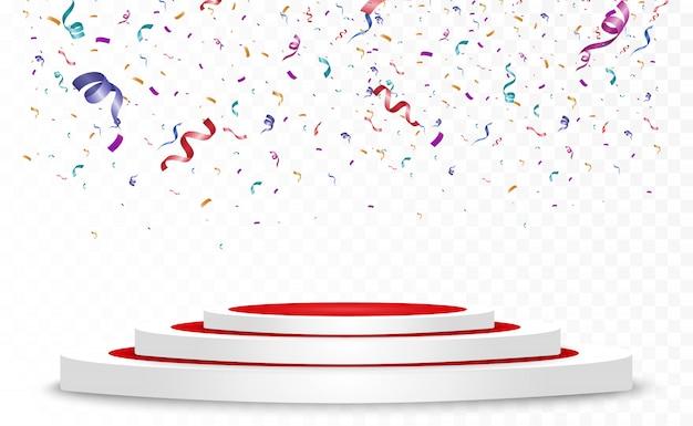 Veel kleurrijke kleine confetti en linten op transparante achtergrond. feestelijk evenement en feest. multicolor achtergrond. kleurrijke heldere confetti geïsoleerd op het podium. Premium Vector