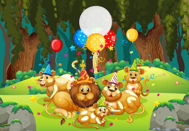 Veel leeuwen in feestthema in natuurbos Premium Vector
