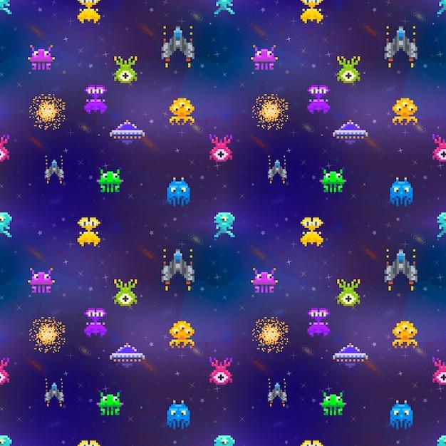 Veel leuke ruimte-indringers in pixelart-stijl op deep space-naadloos patroon als achtergrond Premium Vector