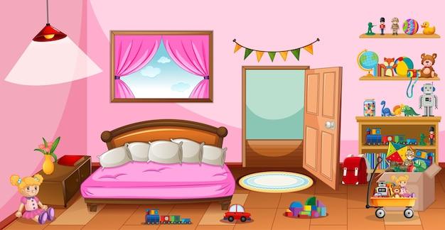 Veel speelgoed in de roze slaapkamerscène Gratis Vector