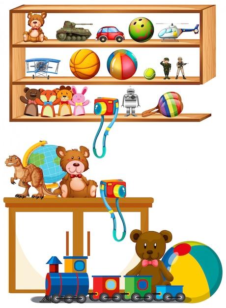 Veel speelgoed op de houten planken Gratis Vector