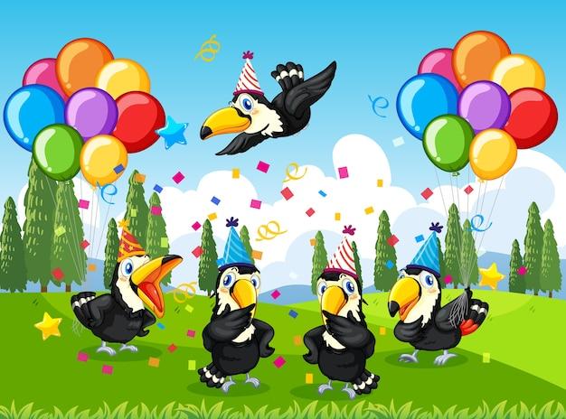 Veel vogels in feestthema in natuurbos Premium Vector