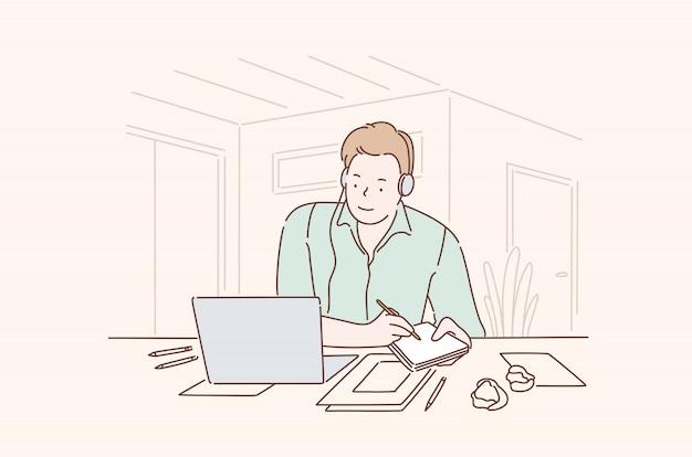Veelbelovende zakenman op het kantoor concept Premium Vector