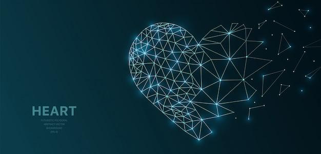 Veelhoekig wireframe mesh futuristisch met hart Premium Vector