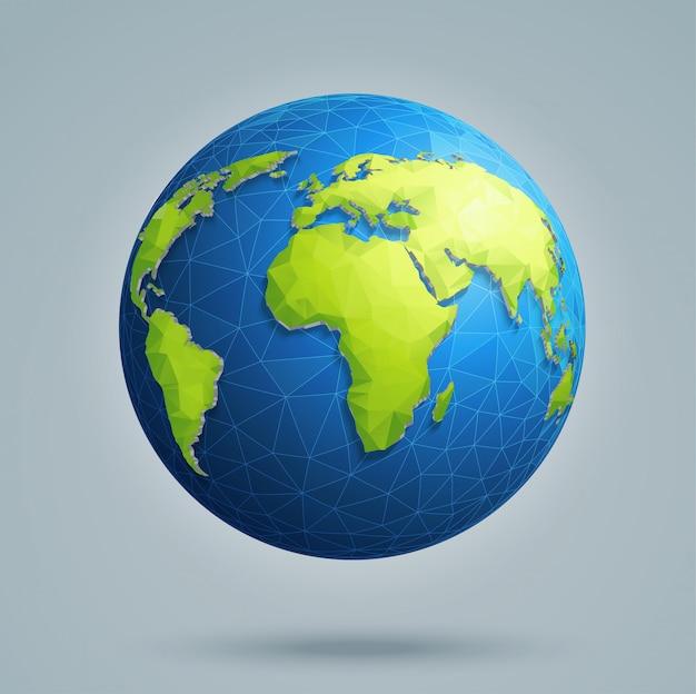 Veelhoekige 3d-wereldbol met wereldwijde verbindingen Premium Vector