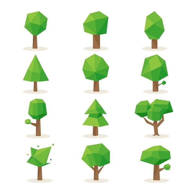 Veelhoekige bomen set. ontwerp natuur, milieu groen, plant natuurlijk Gratis Vector
