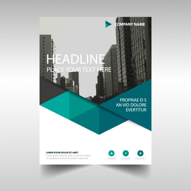 Veelhoekige corporate brochure template Gratis Vector