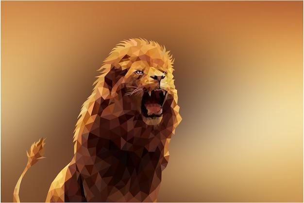 Veelhoekige geometrische leeuw dierlijke achtergrond Premium Vector