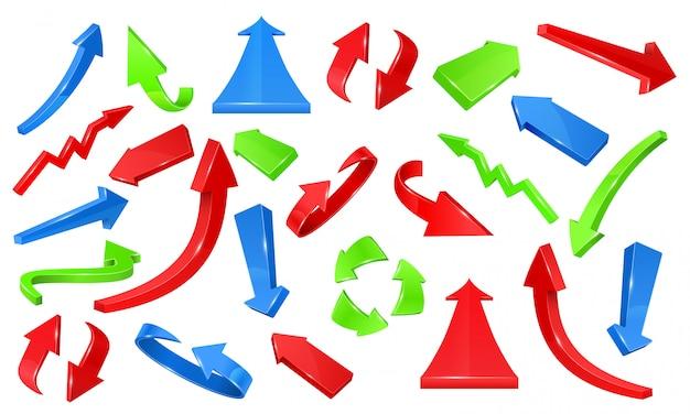 Veelkleurige 3d glanzende pijlen. wijzende tekens vector set Premium Vector