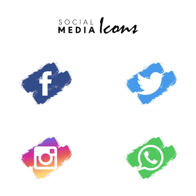 Veelkleurige droge borstel sociale media icon set collectie Gratis Vector