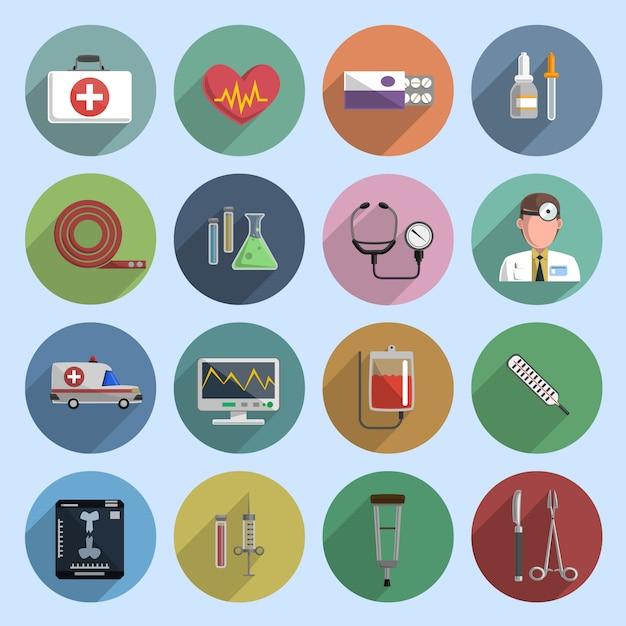 Veelkleurige geneeskunde pictogram plat Gratis Vector