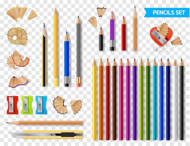 Veelkleurige geslepen potloden transparante set Gratis Vector
