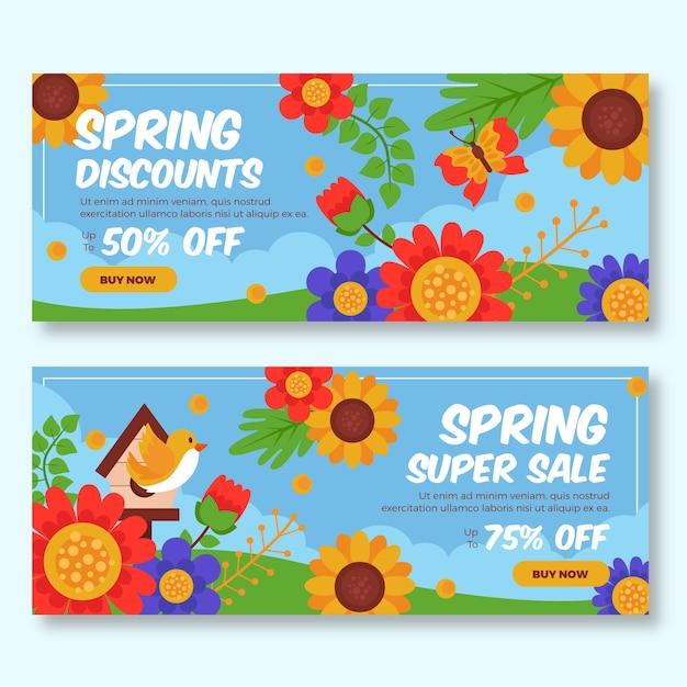 Veelkleurige lente verkoop banners Gratis Vector
