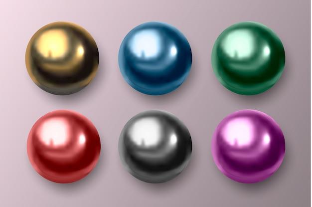 Veelkleurige metalen en plastic ballen. Premium Vector