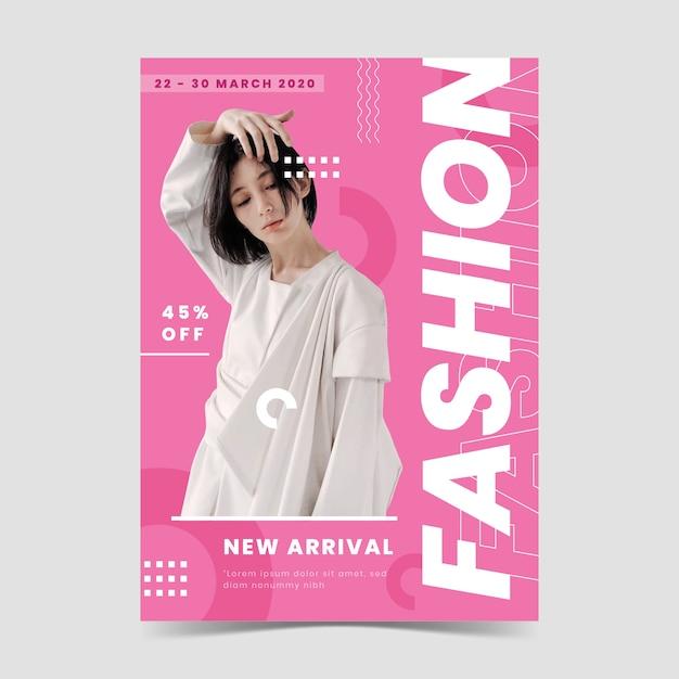 Veelkleurige mode-poster met foto Gratis Vector