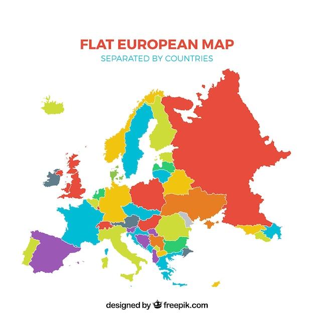 Veelkleurige plat europese kaart gescheiden door landen Gratis Vector