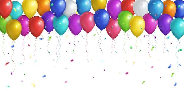 Veelkleurige realistische ballonnen en vallende confetti Premium Vector