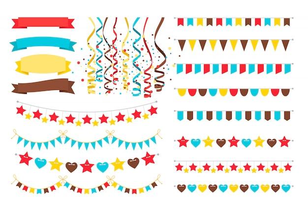 Veelkleurige slingers, versieringvlaggen op koorden en heldere wimpel voor uitnodigingskaart Premium Vector