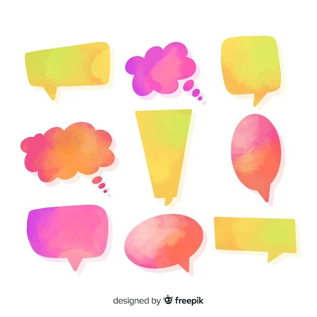 Veelkleurige tekstballonnen watergekleurd met vormendiversiteit Gratis Vector