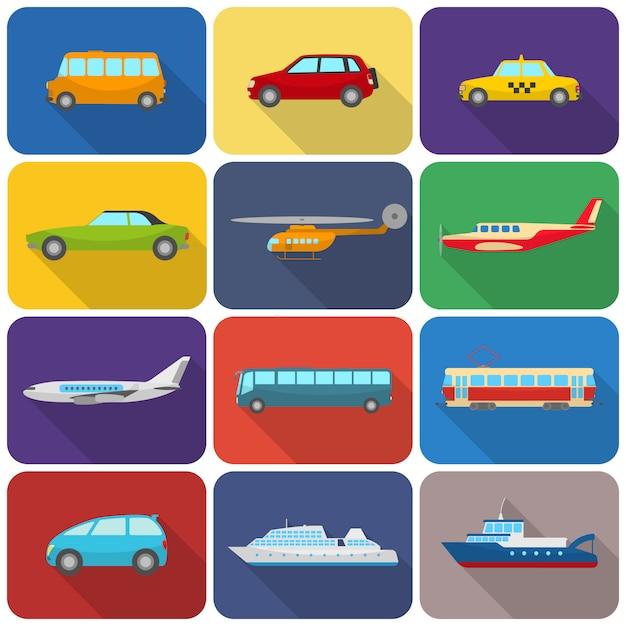 Veelkleurige transport pictogrammen plat Gratis Vector