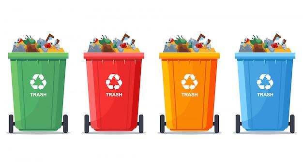 Veelkleurige volle vuilnisbakken Premium Vector