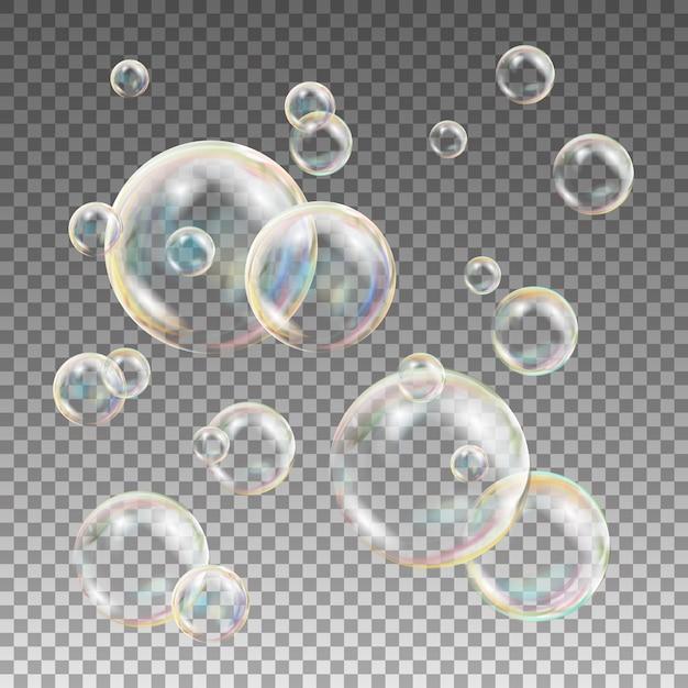 Veelkleurige zeepbellen Premium Vector