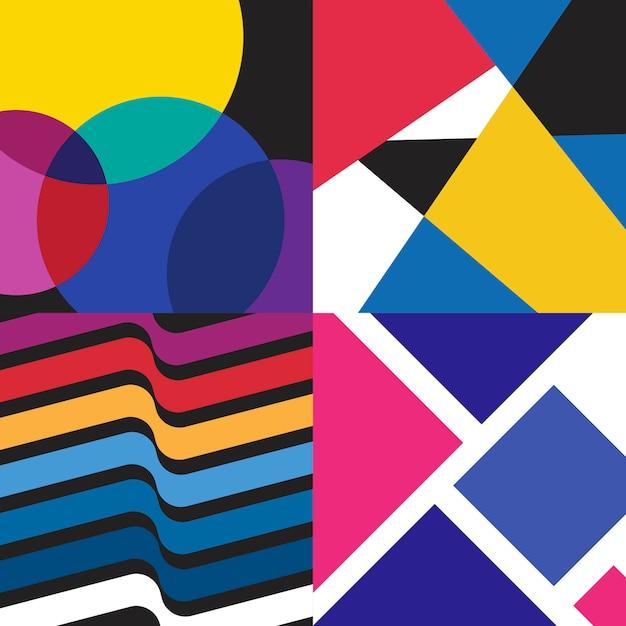 Veelkleurige zwitserse grafische illustratiereeks Gratis Vector