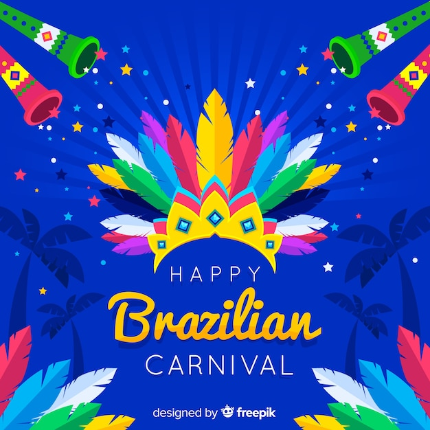 Veer kroon braziliaanse carnaval achtergrond Gratis Vector