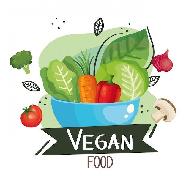 Vegan food illustratie met kom en groenten Premium Vector