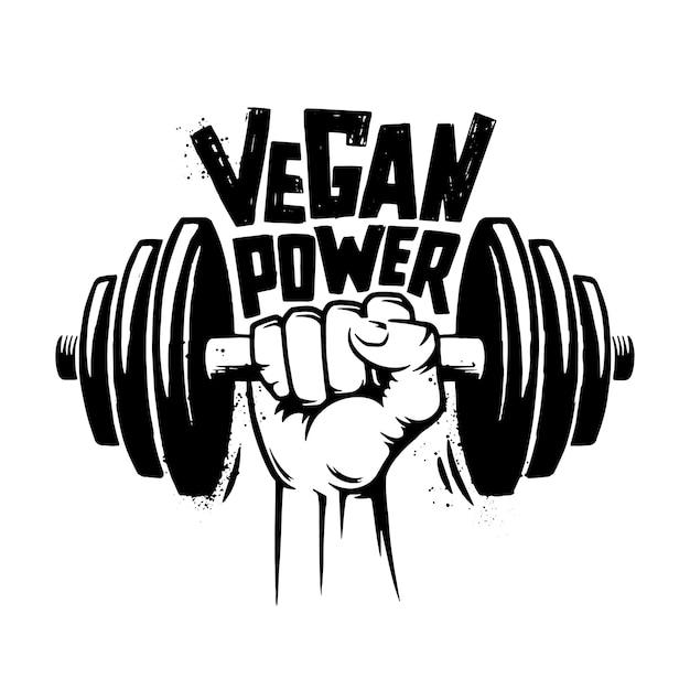 Vegan power retro. Premium Vector
