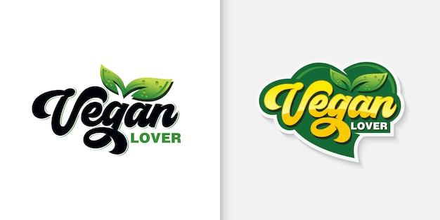 Vegan typografie logo collectie Premium Vector
