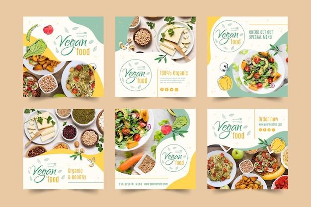 Veganistisch eten instagram postsjabloon Gratis Vector