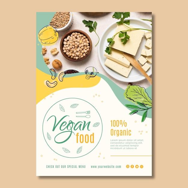 Veganistisch eten poster sjabloon Premium Vector