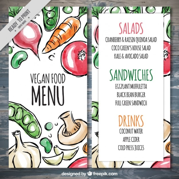 Veganistisch menu met de hand getekende aquarel eten decoratie vector gratis download - Restaurant decoratie ...