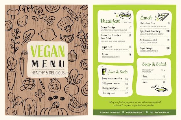 Veganistisch restaurantmenu met houten textuur Premium Vector