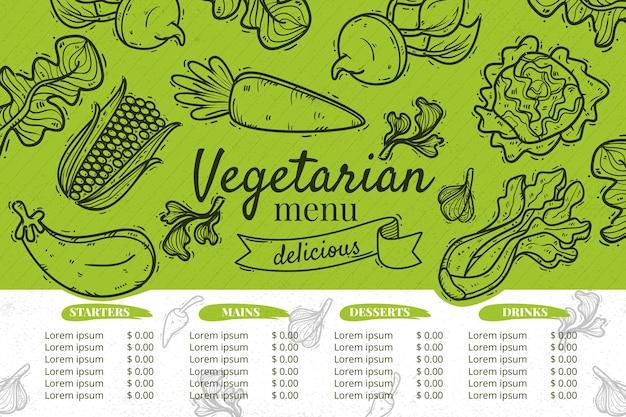 Vegetarisch restaurant menusjabloon Gratis Vector
